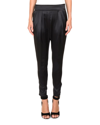 Silk Satin High-Waist Tapered Pants