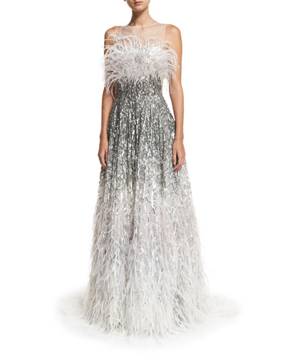 Sleeveless Feather-Embellished Gown