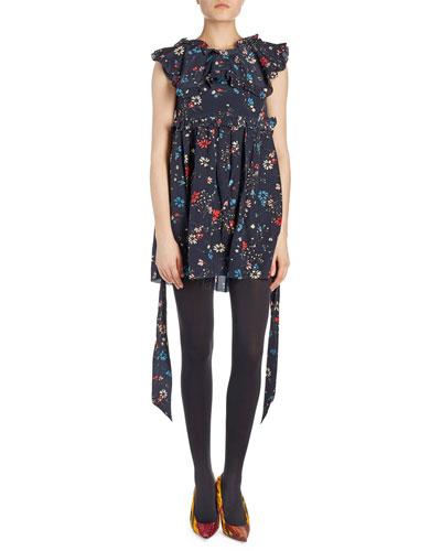 Floral-Print V-Beck Babydoll Dress
