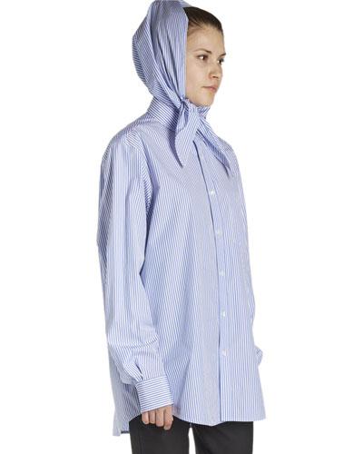 Striped Poplin Headscarf Blouse