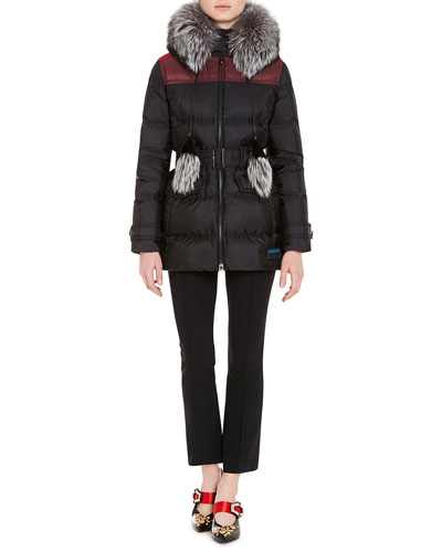 Fur-Trim Quilted Puffer Coat