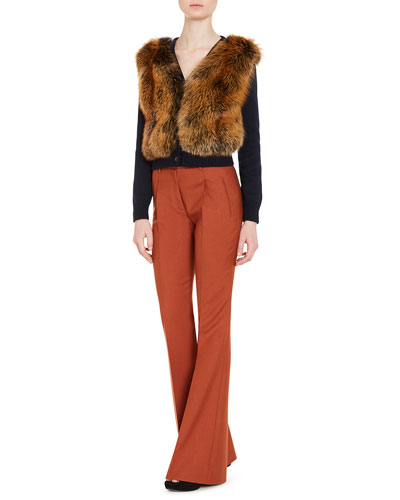 Knit Cardigan w/Fox Fur Front, Blue