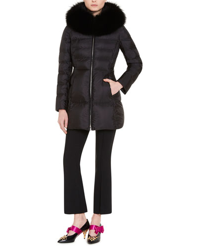FUR-TRIMMED DOWN-QUILTED PUFFER COAT