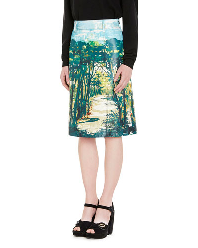 Woods Print Leather Skirt, Green
