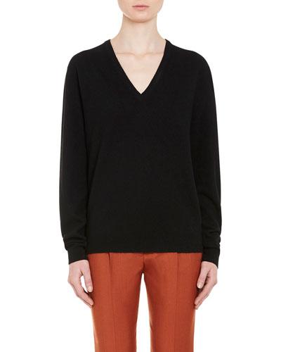 Oversized Wool V-Neck Sweater, Black
