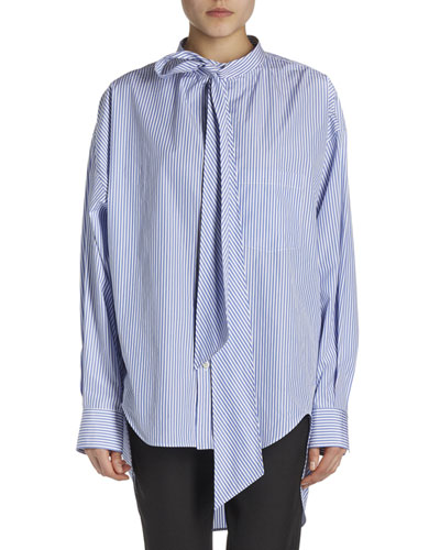 Striped Long-Sleeve New Swing Blouse