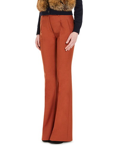 Flared Wide-Leg Pants, Orange