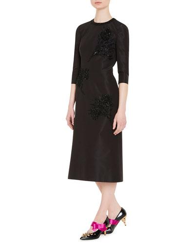 Embellished Faille Cocktail Dress, Black