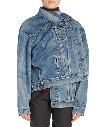 Pulled Asymmetric Denim Jacket