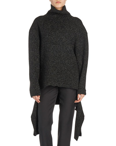 Tie-Waist Turtleneck Sweater