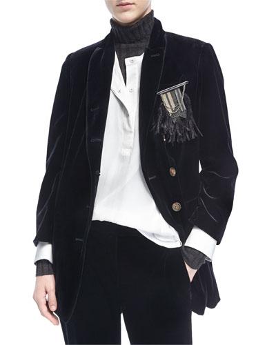 Velvet Blazer w/Feather Pin