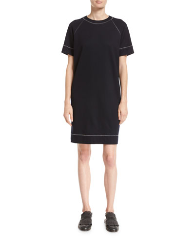 Wool-Cotton T-Shirt Dress with Lurex® Trim