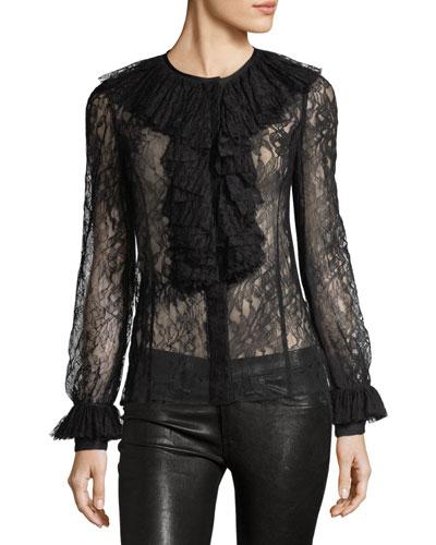 Lace Pleated-Bib Shirt