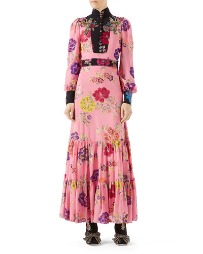 Garden-Print Crepe Dress, Pink Pattern