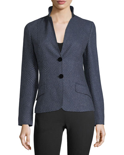 Dotted Cashmere Two-Button Jacket