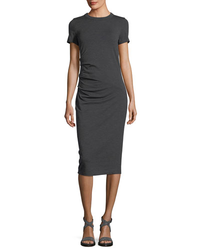 Short-Sleeve Wool Jersey Midi Dress
