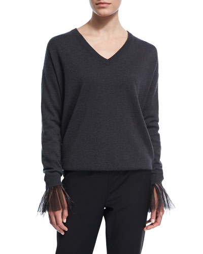2-Ply Cashmere Sweater w/Tulle Feather Cuffs