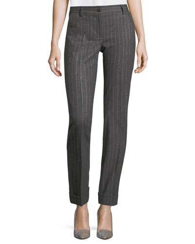 Straight-Leg Pinstriped Pants