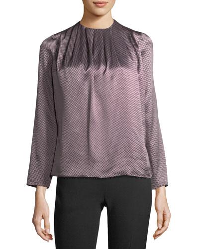 Shiny Silk Jacquard Blouse