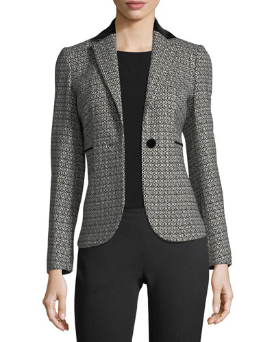 Honeycomb Jacquard One-Button Jacket