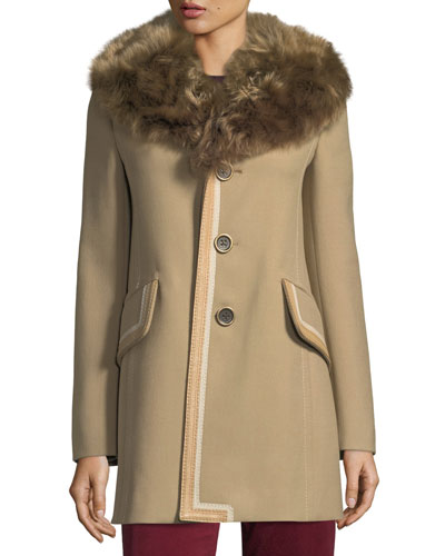 Double-Face Wool Coat w/Shearling Fur Trim