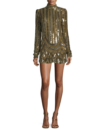 Sequined Mock-Neck Mini Dress