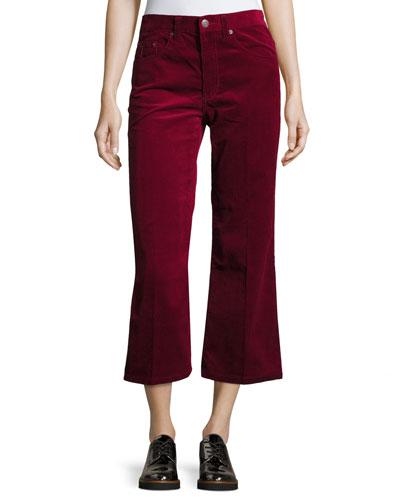 Pantalone Cropped Corduroy, Maroon