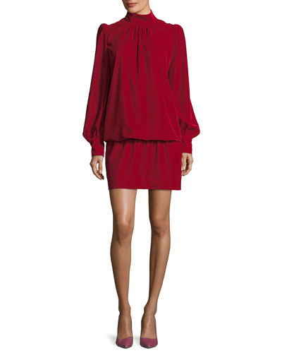 Velvet Mock-Neck Blouson Dress
