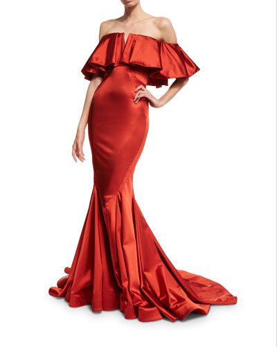 Off-the-Shoulder Satin Trumpet Gown