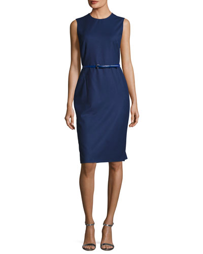 Sleeveless Jewel-Neck Sheath Dress