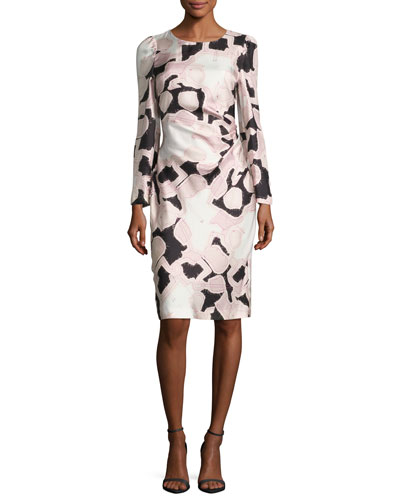 Long-Sleeve Printed Silk Dress