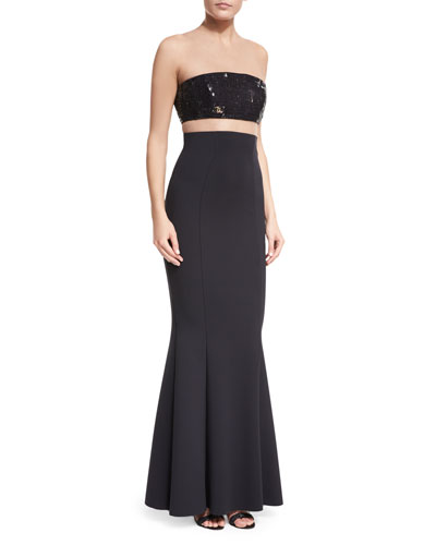 Sequined Bandeau Illusion Gown w Crepe Mermaid Skirt Quick Look 9907bfa6b
