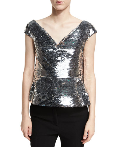 Sequined Cap-Sleeve Top