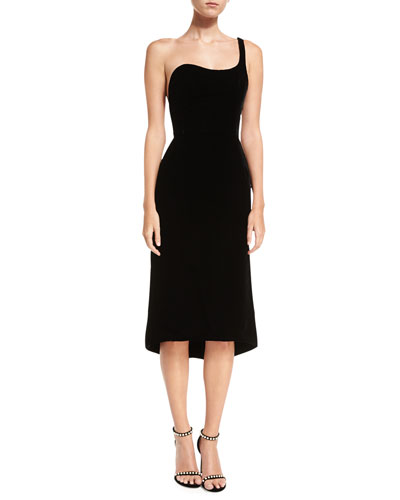 Velvet One-Shoulder Cocktail Dress