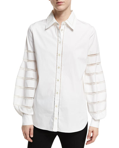 Caged Long-Sleeve Poplin Blouse