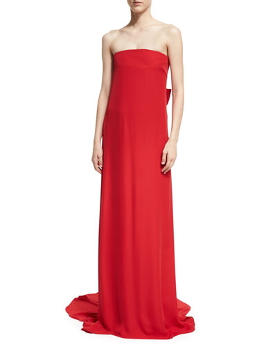Strapless Silk Crepe Column Gown