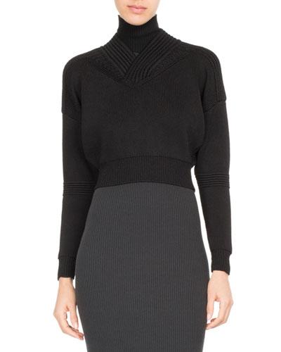 Cropped Rib-Knit Turtleneck Sweater