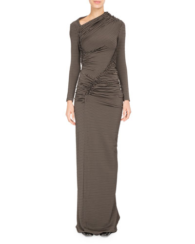 Jersey Jacquard Long-Sleeve Gown