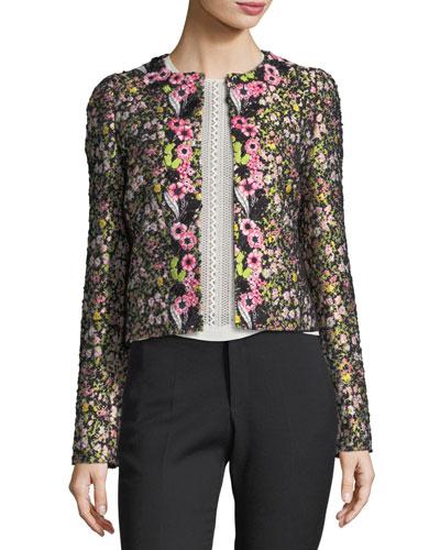 Floral Jacquard Round-Neck Jacket