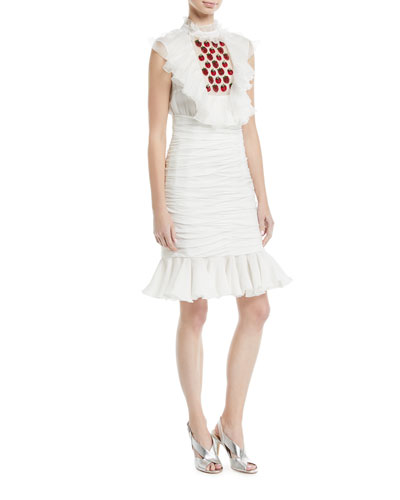 Strawberry-Embroidered Georgette Cocktail Dress