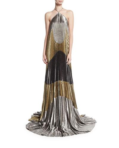 Metallic Plisse Halter Gown