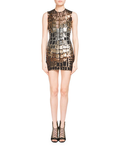 Metallic Croc-Sequined Mini Dress
