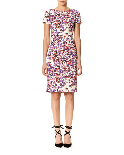 Short-Sleeve Floral-Print Faille Sheath Dress