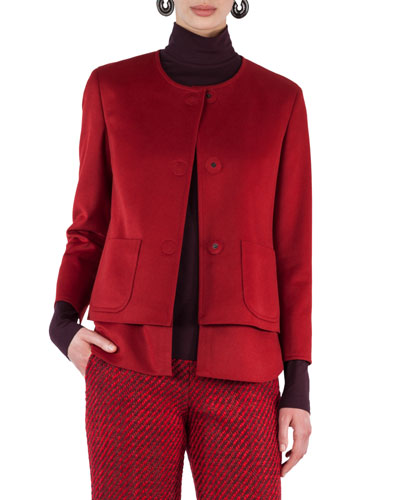 Convertible Collarless Layered Wool Jacket