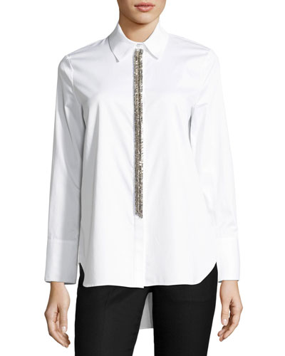 Chain-Trim Cotton Blouse