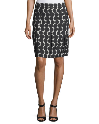Pleated Dot-Print Silk Skirt