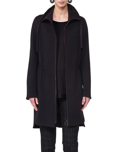 Stand-Collar Zip-Front Coat