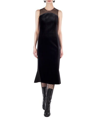 Sleeveless Illusion Velvet Midi Cocktail Dress