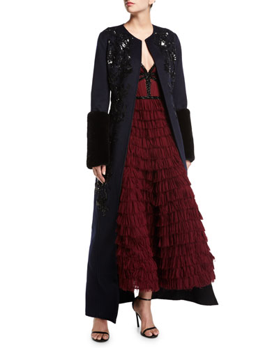 Long Paillette-Embellished Coat w/Mink Fur Cuffs