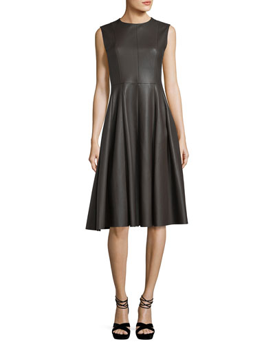Sleeveless Leather A-Line Dress